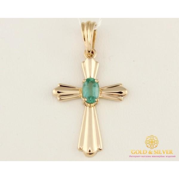 Золотой Крест 585 проба. Крест с красного золота, с вставкой Изумруд. 33284 , Gold & Silver Gold & Silver, Украина