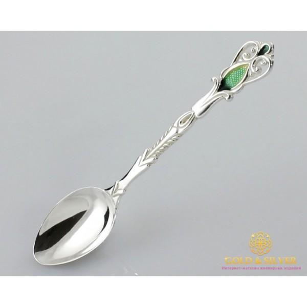 Серебряная ложка 925 проба. Ложка кофейная. Ювелирная эмаль 6007. , Gold & Silver Gold & Silver, Украина