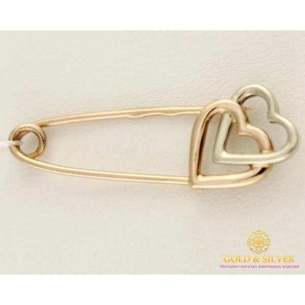 Золотая булавка 585 проба. Булавка два сердца. Белое и красное золото. бш354и , Gold & Silver Gold & Silver, Украина