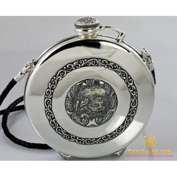 Серебряная фляга 925 проба. Фляга охотники. 75600 , Gold & Silver Gold & Silver, Украина