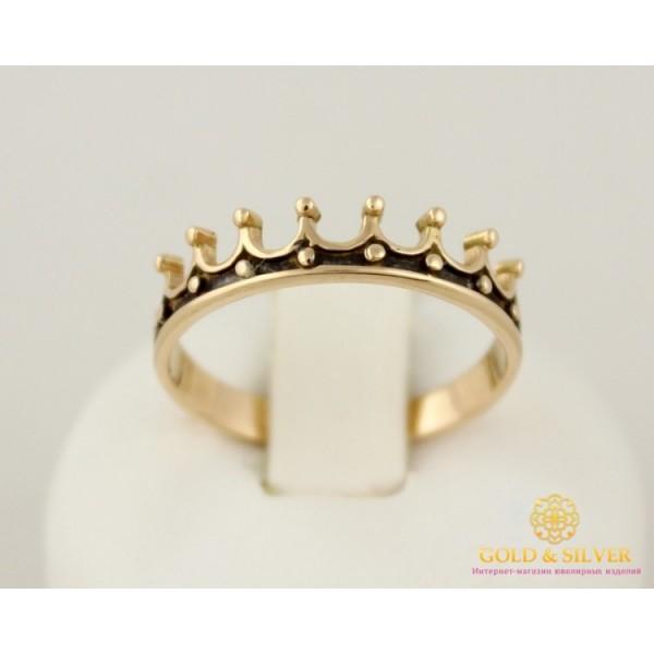 Золотое кольцо 585 проба. Кольцо унисекс с красного золота и черной эмалью. Корона. кв641(г)и , Gold & Silver Gold & Silver, Украина