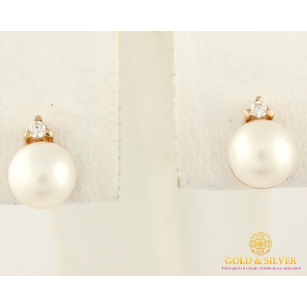 Золотые серьги 585 проба. Серьги женские пуссеты жемчуг белый с красного золота. сп348и , Gold &amp Silver Gold & Silver, Украина