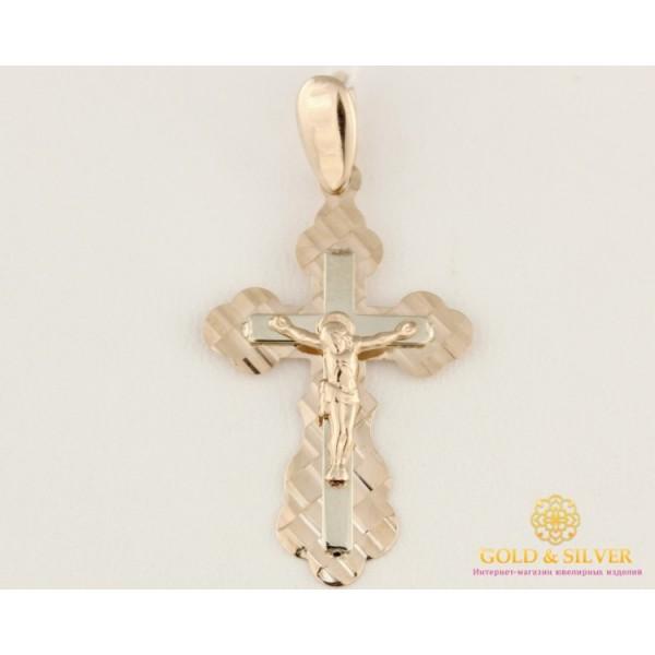 Золотой крест 585 проба. Крестик красное и белое золото. алмазная огранка. 210142 , Gold &amp Silver Gold & Silver, Украина