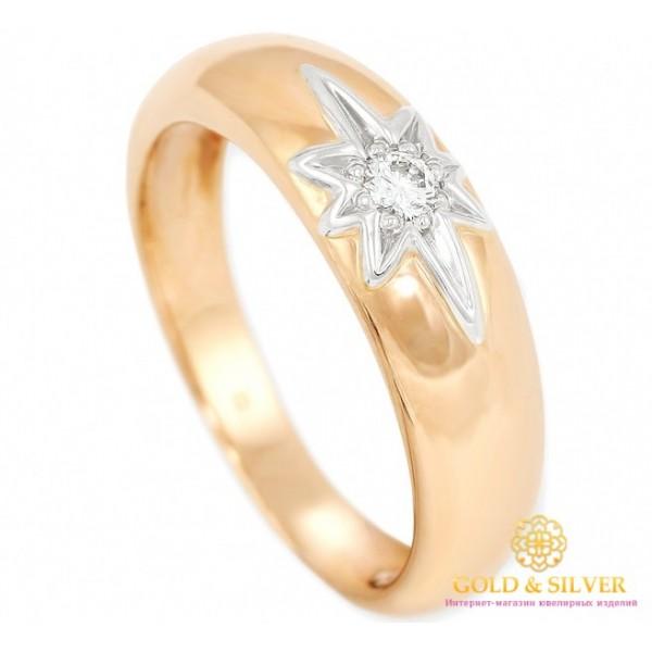 Золотое обручальное кольцо 585 проба. Кольцо Сияние с красного и белого золота с вставкой Бриллианта. 13240 , Gold & Silver Gold & Silver, Украина