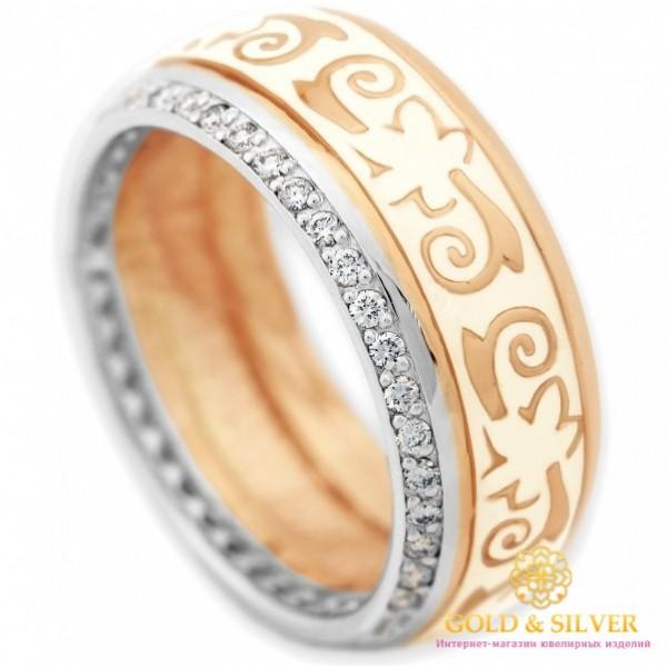 Золотое кольцо обручальное 585 проба. Россыпь бриллиантов. Красное и белое золото. Белая эмаль. 15920 , Gold & Silver Gold & Silver, Украина