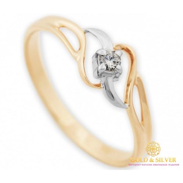 Золотое кольцо Бриллиант 585 проба. Кольцо женское красное и белое золото. 16480 , Gold & Silver Gold & Silver, Украина