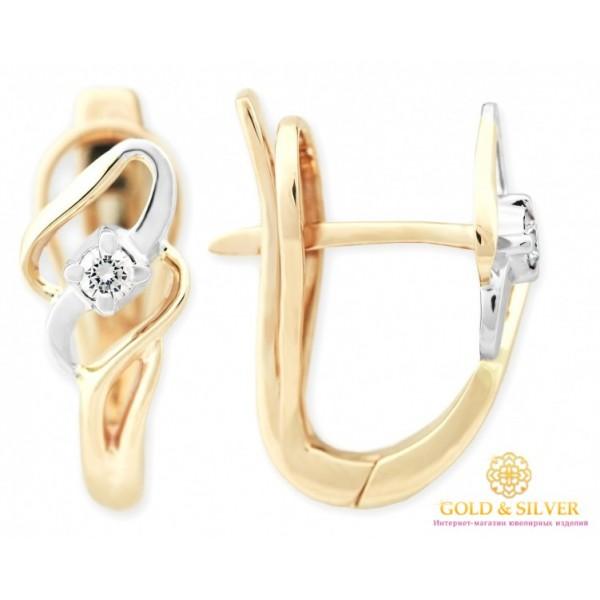 Золотые серьги с бриллиантами 585 проба. Женские серьги красное и белое золото. 26480 , Gold & Silver Gold & Silver, Украина