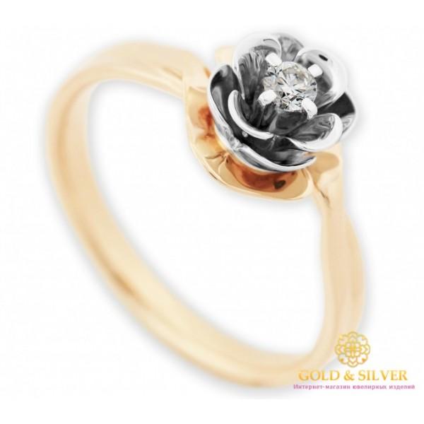 Золотое кольцо Бриллиант 585 проба. Кольцо женское Цветок красное и белое золото. 16460 , Gold & Silver Gold & Silver, Украина