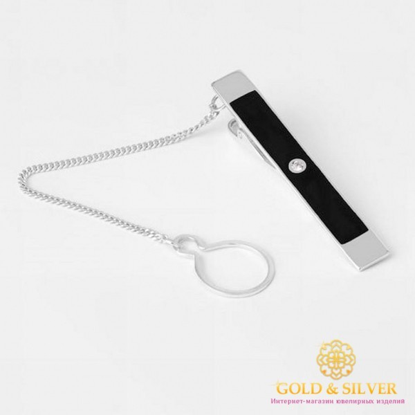 Серебряный зажим для галстука 925 проба. Мужской зажим серебряный черная эмаль. 8167е , Gold &amp Silver Gold & Silver, Украина