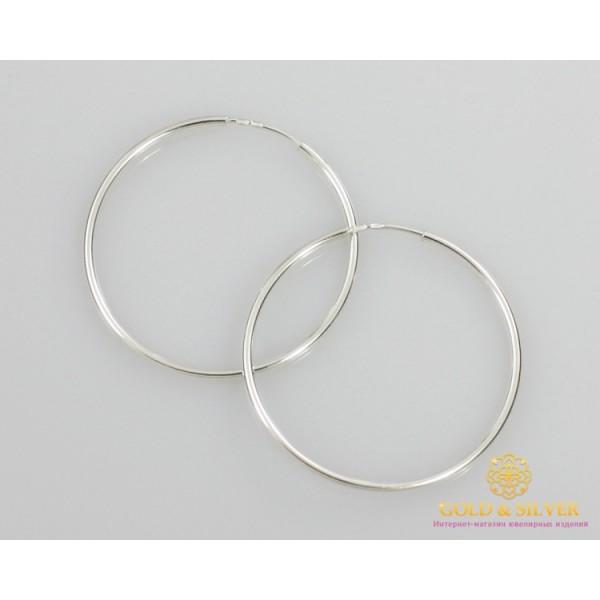 Серебряные серьги 925 проба. Серьги серебряные женские кольца (конго). Диаметр 48 мм. 2501 , Gold & Silver Gold & Silver, Украина