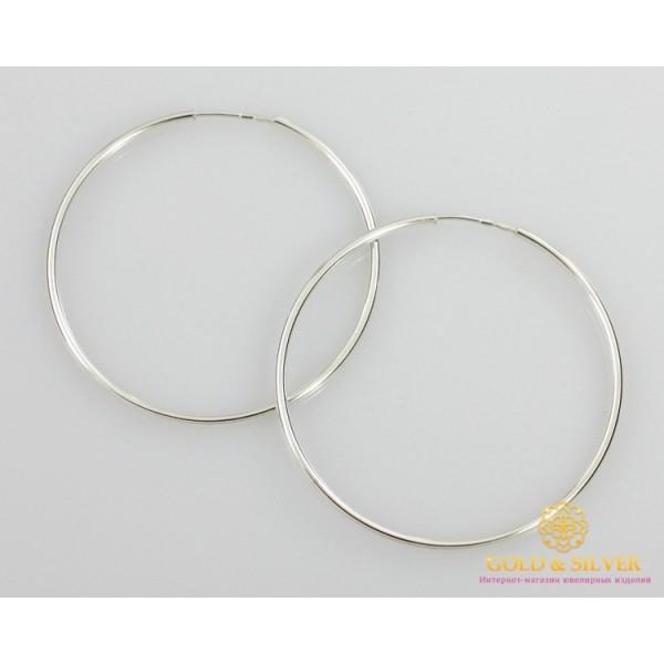 Серебряные серьги 925 проба. Серьги серебряное женские кольца (конго). Диаметр 60 мм. 2502 , Gold & Silver Gold & Silver, Украина