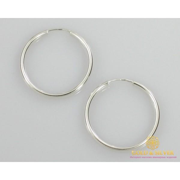 Серебряные серьги 925 проба. Серьги серебряные женские кольца (конго). Диаметр 35 мм. 2503 , Gold & Silver Gold & Silver, Украина