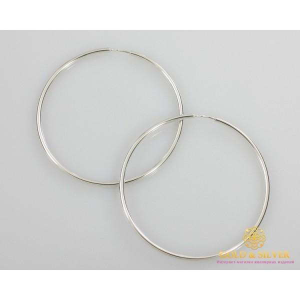 Серебряные серьги 925 проба. Серьги серебряные женские кольца (конго). Диаметр 70 мм. 2506 , Gold & Silver Gold & Silver, Украина