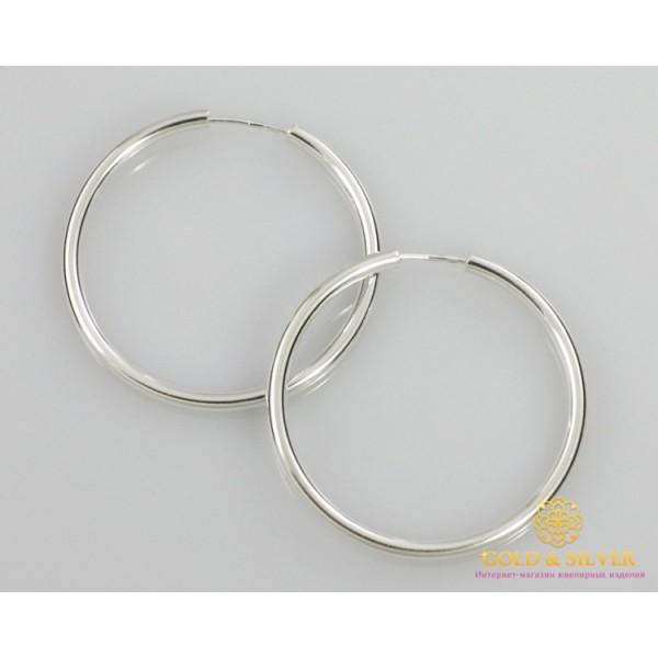 Серебряные серьги 925 проба. Серьги серебряные женские кольца (конго). Диаметр 48 мм. 2508 , Gold & Silver Gold & Silver, Украина