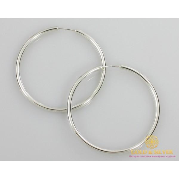 Серебряные серьги 925 проба. Серьги серебряные женские кольца (конго). Диаметр 60 мм. 2509 , Gold & Silver Gold & Silver, Украина