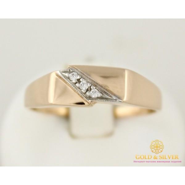 Золотое кольцо 585 проба. Кольцо мужское красное золото с фианитом 11095 , Gold & Silver Gold & Silver, Украина