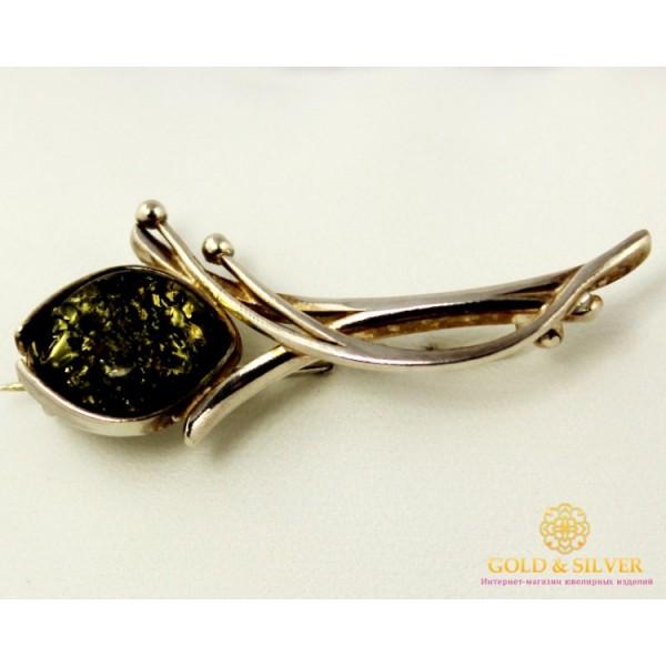 Серебряная Брошь Янтарь 043040 , Gold &amp Silver Gold & Silver, Украина