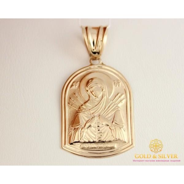 Золотая нательная Икона 585 проба. Подвес с красного золота, Божья Матерь Семистрельная 100182 , Gold &amp Silver Gold & Silver, Украина