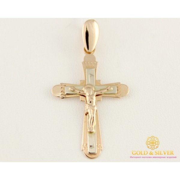 Золотой Крест 585 проба. Крестик с красного и белого золота. 230036 , Gold & Silver Gold & Silver, Украина