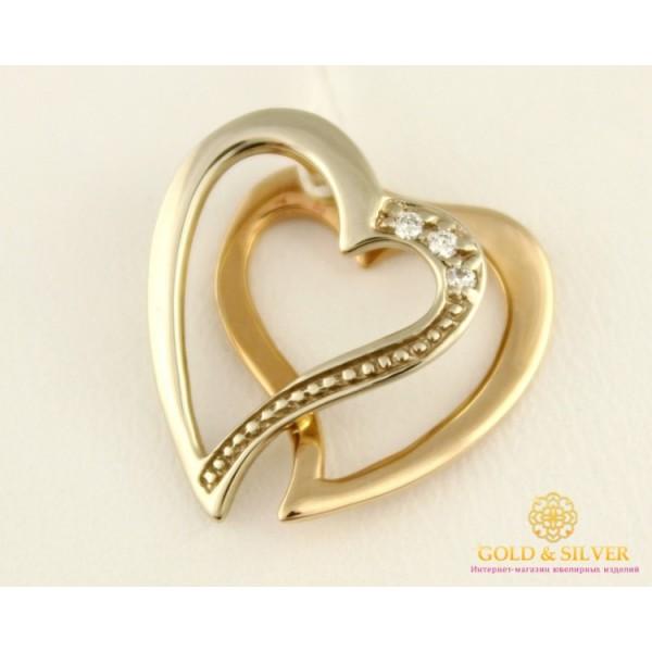 Золотой Кулон 585 проба. Подвес с красного и белого золота, Сердце, с вставкой Бриллиант 31600 , Gold & Silver Gold & Silver, Украина