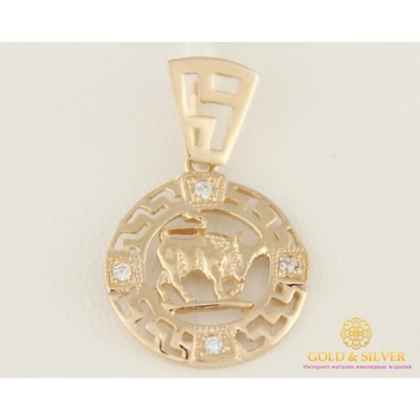 Золотой Кулон 585 проба. Подвес с красного золота, Знак Зодиака Телец золотой. 33022 , Gold &amp Silver Gold & Silver, Украина