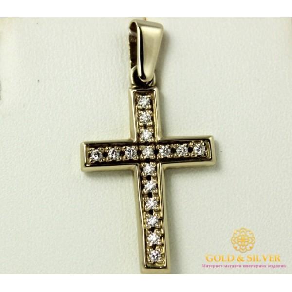 Золотой Крест 585 проба. Крест Белое Золото с вставкой Бриллиант 33039 , Gold &amp Silver Gold & Silver, Украина