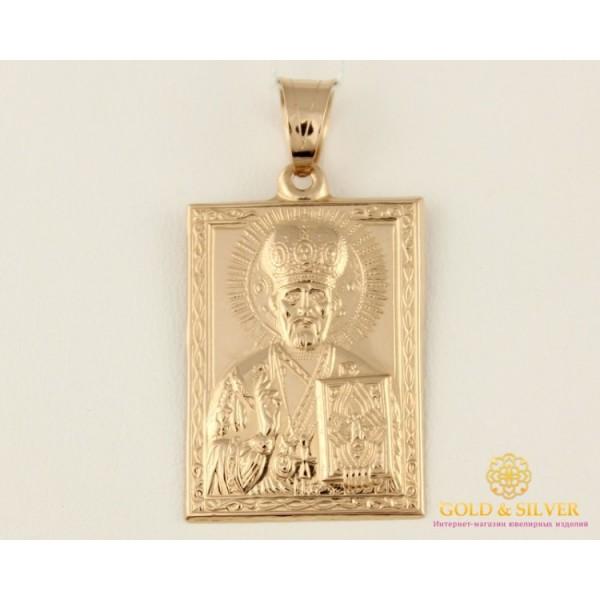 Золотая Нательная Икона 585 проба. Подвес с красного золота, Святой Николай Угодник 100405 , Gold & Silver Gold & Silver, Украина