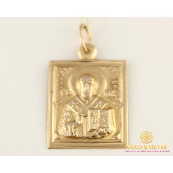 Золотая Нательная Икона 585 проба. Подвес с красного золота, Святой Николай Чудотворец 100437 , Gold & Silver Gold & Silver, Украина
