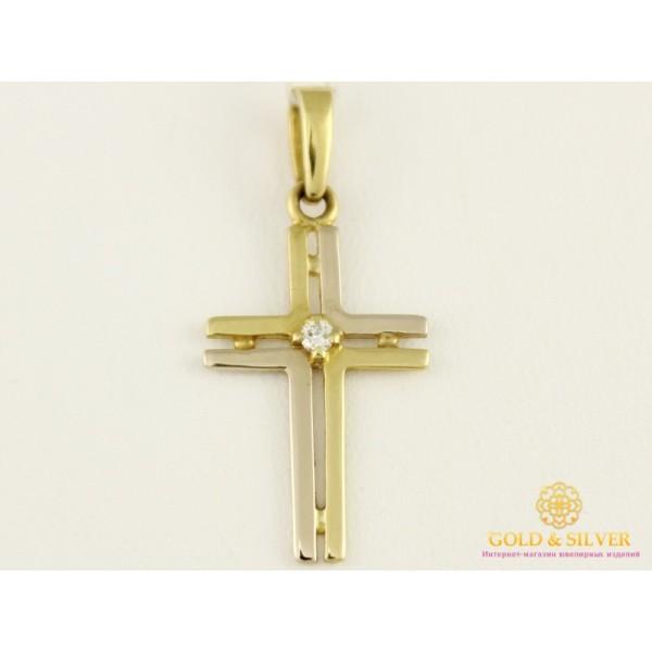 Золотой Крест 750 пробы. Крестик с бриллиантом 104778 , Gold &amp Silver Gold & Silver, Украина