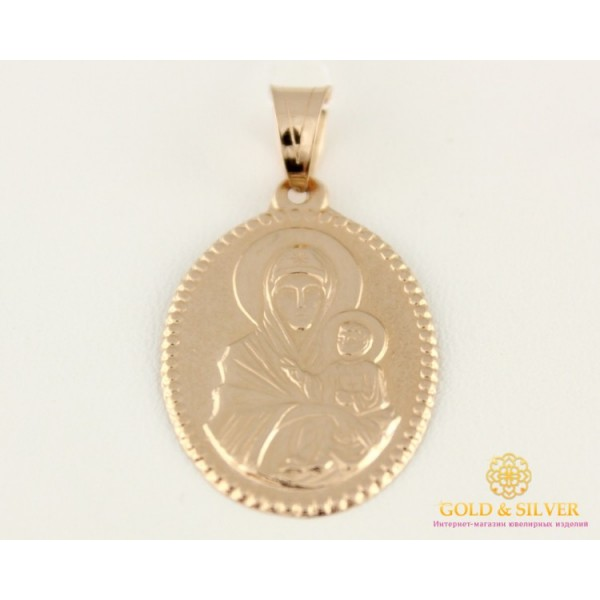 Золотая Нательная Икона 585 проба. Подвес с красного золота, Божья Матерь 100047 , Gold & Silver Gold & Silver, Украина
