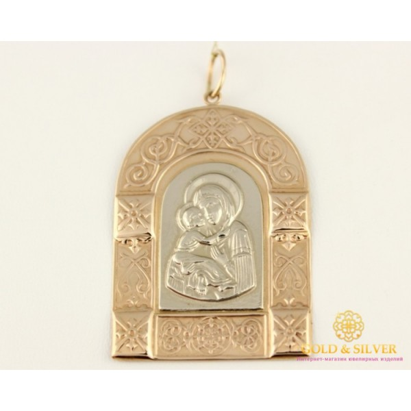 Золотая Нательная Икона 585 проба. Подвес с красного золота и белого золота, Божья Матерь Владимировская 120695 , Gold & Silver Gold & Silver, Украина