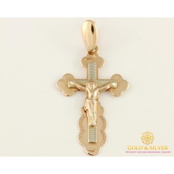 Золотой Крест 585 проба. Крест с красного и белого золота, 1,61 грамма. 210038 , Gold & Silver Gold & Silver, Украина