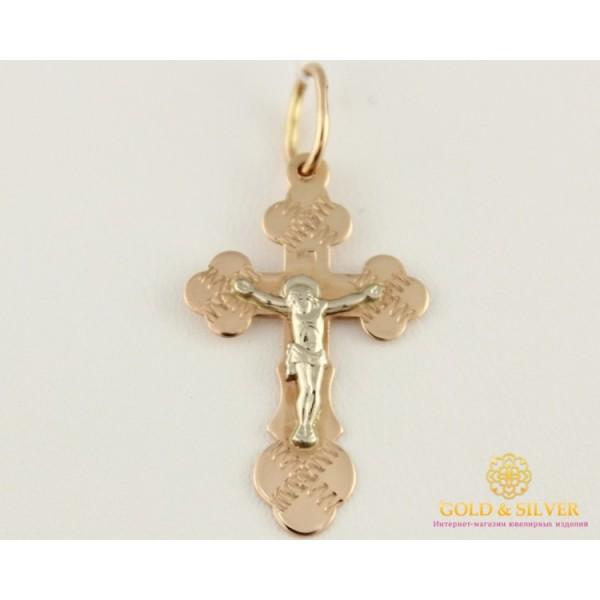 Золотой Крест 585 проба. Крест Красное и Белое золото, 1 грамм. 230015 , Gold & Silver Gold & Silver, Украина