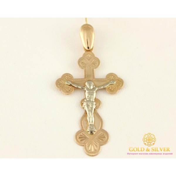 Золотой Крест 585 проба. Крестик с красного и белого золота, 1,85 грамма 221009 , Gold &amp Silver Gold & Silver, Украина