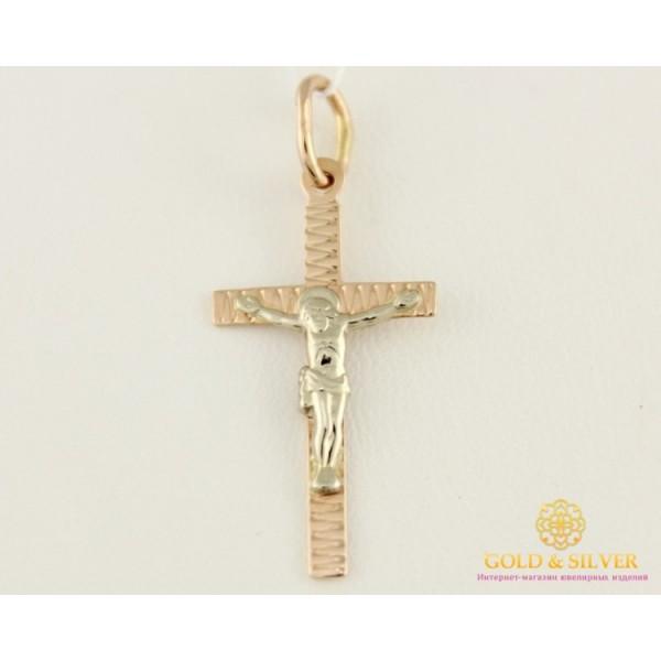 Золотой Крест 585 проба. Крестик с красного и белого золота, 0,59 грамма. 230046 , Gold & Silver Gold & Silver, Украина