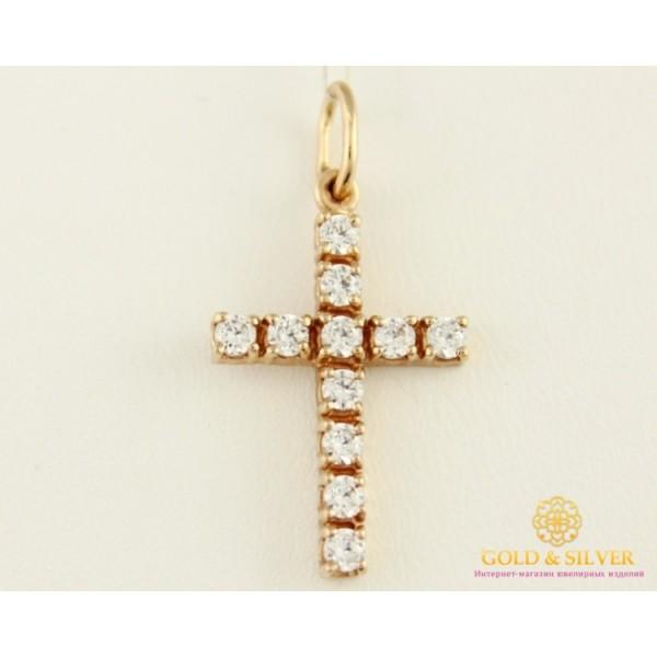 Золотой Крест 585 проба. Крест с красного золота, россыпь камней. 260002 , Gold &amp Silver Gold & Silver, Украина