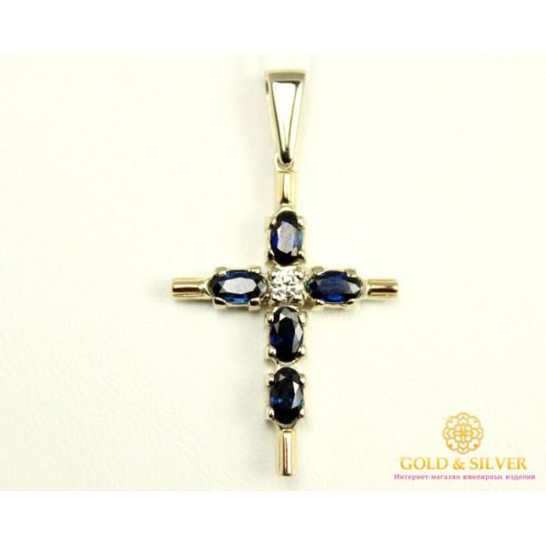 Золотой Крест 585 проба. Женский крестик с белого золота Сапфир и Бриллиант 33280 , Gold & Silver Gold & Silver, Украина