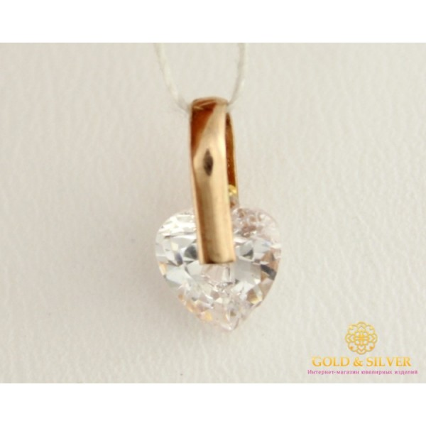 Золотой Кулон 585 проба. Подвес с красного золота Сердце, с вставкой камня 420962 , Gold & Silver Gold & Silver, Украина