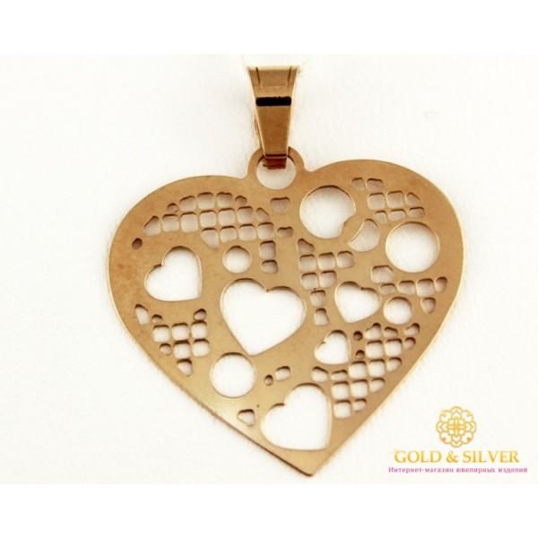 Золотой Кулон 585 проба. Подвес с красного золота, Сердце, без вставок 421053 , Gold & Silver Gold & Silver, Украина