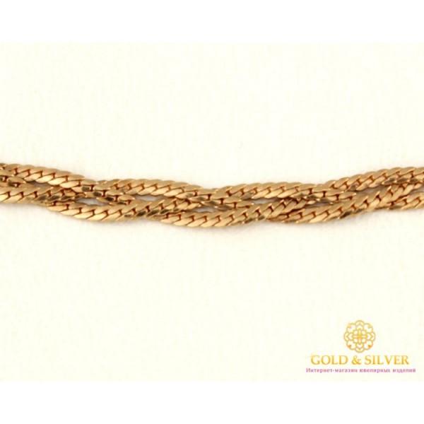 Золотая Цепь 585 проба. Женская цепочка с красного золота Косичка, 40 сантиметров 2103 , Gold & Silver Gold & Silver, Украина
