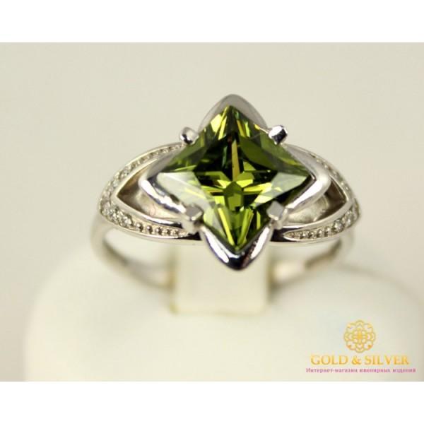 Серебряное кольцо 925 проба. Женское серебряное Кольцо с вставкой зеленого камушка. 330777c 4 грамма , Gold &amp Silver Gold & Silver, Украина