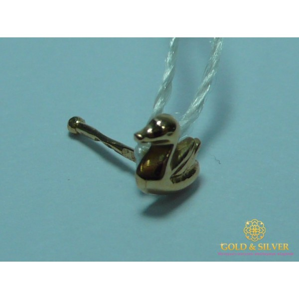 Золотой Пирсинг в нос Уточка 015i , Gold &amp Silver Gold & Silver, Украина