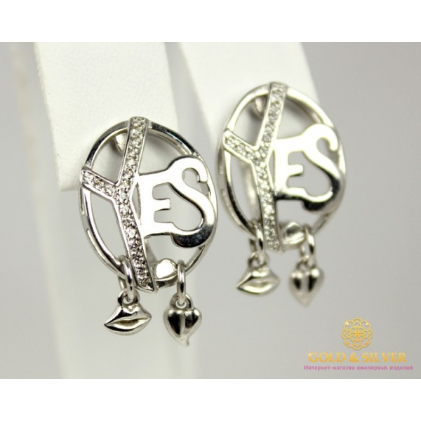 Серебряные Серьги 925 проба. Женские серебряные серьги Фианит YES 420662с , Gold &amp Silver Gold & Silver, Украина
