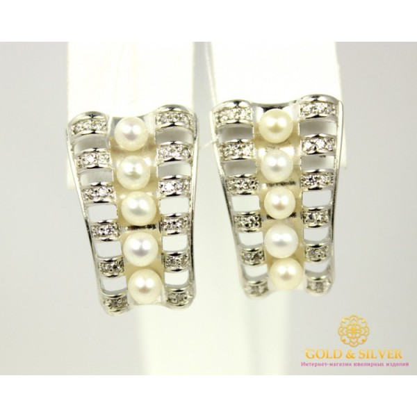 Серебряные Серьги 925 проба. Женские серьги с вставкой Жемчуг 420691c , Gold & Silver Gold & Silver, Украина