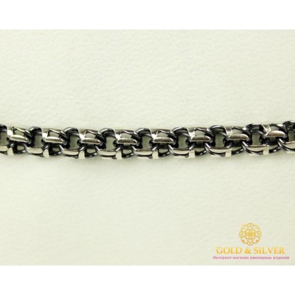 Серебряный Браслет 925 проба. Браслет серебряный черненый, плетение  Бисмарк Круглый 4051-1 , Gold & Silver Gold & Silver, Украина