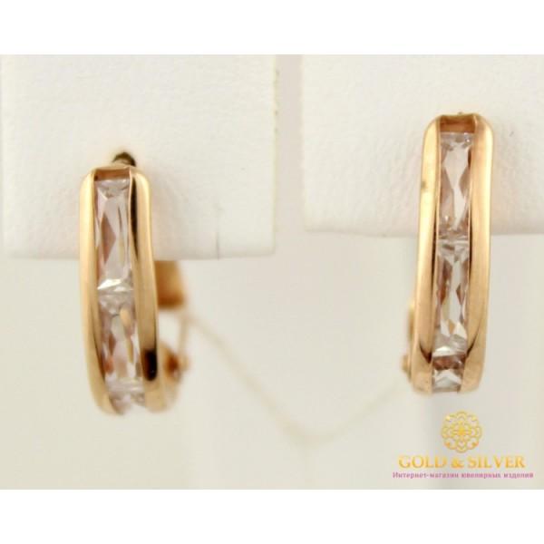 Золотые Серьги 585 проба. Женские серьги с красного золота, бесцветный камень 470344 , Gold & Silver Gold & Silver, Украина