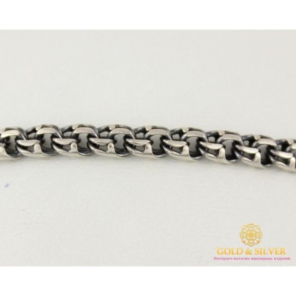 Серебряный Браслет 925 проба. Браслет серебряный черненый, плетение Бисмарк, Унисекс 4051-2 , Gold & Silver Gold & Silver, Украина