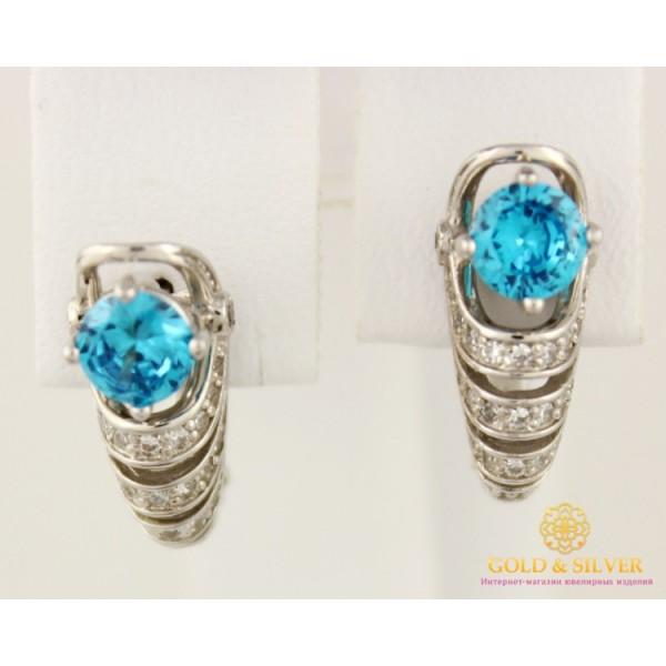 Золотые Серьги 585 проба. Женские серьги с белого золота с голубым камнем cv54401i , Gold &amp Silver Gold & Silver, Украина