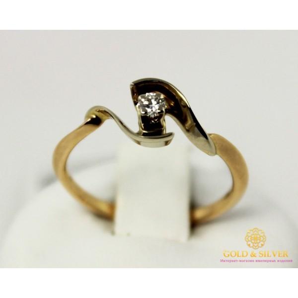 Золотое Кольцо 585 проба. Кольцо с красного и белого золота, с вставкой Бриллиант 10220 , Gold & Silver Gold & Silver, Украина