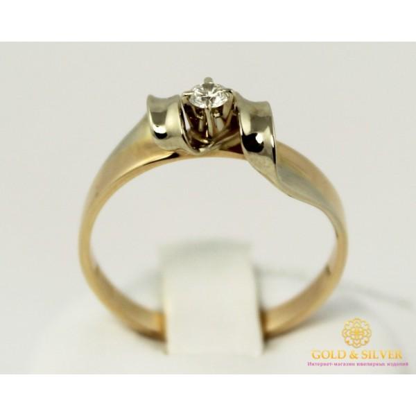 Золотое кольцо 585 проба. Кольцо с красного и белого золота с вставкой Бриллиант. 10640 , Gold & Silver Gold & Silver, Украина